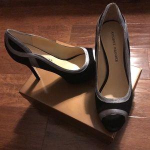 Audrey Brooke black and silver suede heel